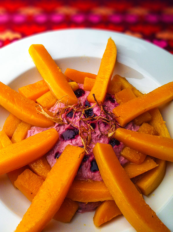 Labne with spicy blackberry compote, jerusalem artichoke, poppy seeds, ginger and butternut squash