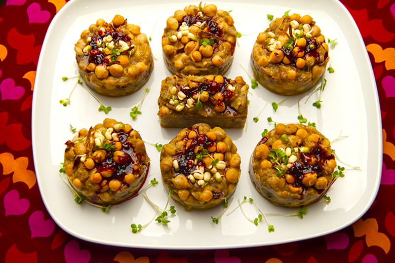 Aubergine, chickpeas and mung sprouts