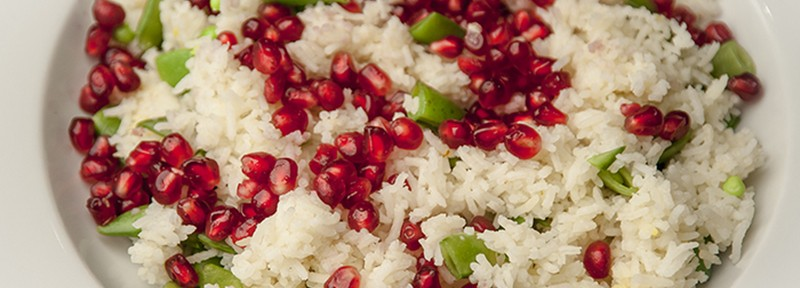 Rice, peas and pomegranate