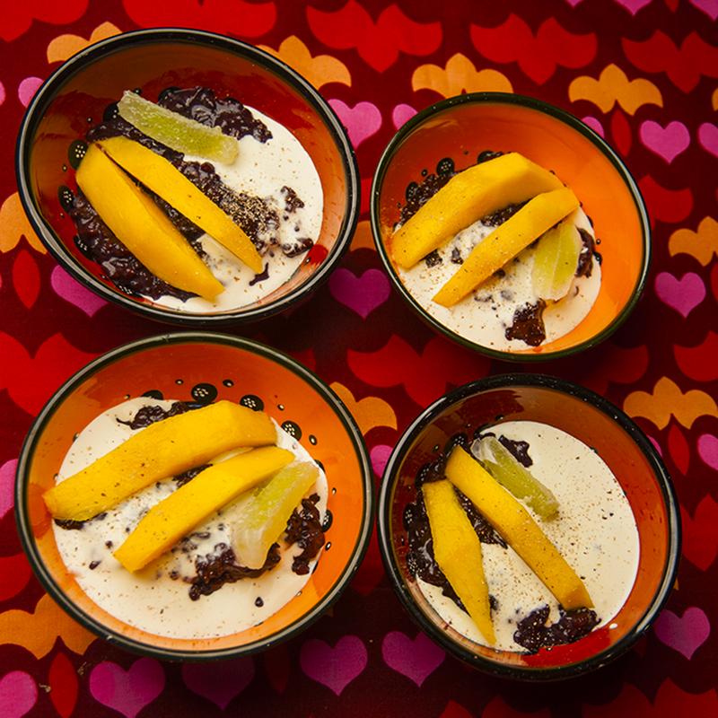 Black sticky rice pudding, lime, cream and nutmeg