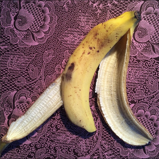 Banana skin in pink lace